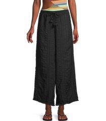 robin piccone women's michelle textured wide-leg pants - marigold - size xs