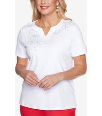 alfred dunner petite anchor's away rope-embroidered top