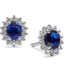 diana m jewels women's 14k white gold, sapphire & 0.26 tcw diamond stud earrings