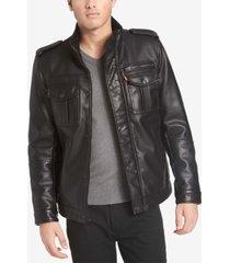 levi's men's faux leather utility jacket