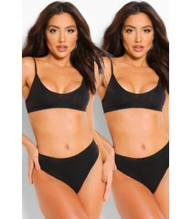 2 pack seamfree triangle bralette, black