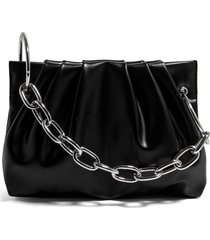 house of want chill vegan leather frame clutch - black