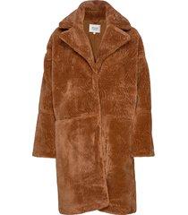 myra coat outerwear faux fur bruin second female