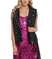 dkny faux-leather moto vest