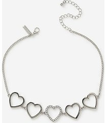 *heart choker necklace - silver
