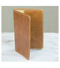 leather passport case, 'honey camel' (mexico)