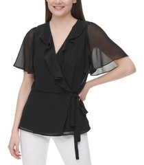 calvin klein chiffon ruffled faux-wrap top