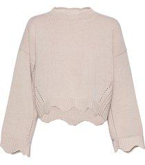 crew neck cashmere blend sweater w scallops stickad tröja rosa 3.1 phillip lim