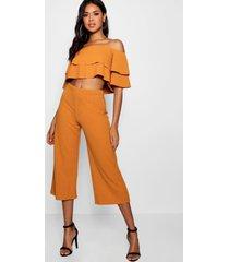 strapless top met 2 lagen en culotte set, oranje