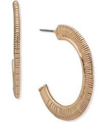 "anne klein gold-tone medium snake-chain c-hoop earrings, 1.25"""