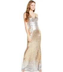 crystal doll juniors' ombre sequin v-neck gown