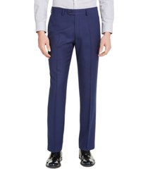 perry ellis men's portfolio slim-fit stretch blue pindot suit pants