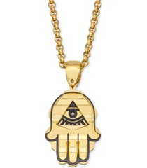 """men's two-tone hamsa hand 24"""" pendant necklace in yellow & black ion-plated stainless steel"""