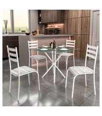 conjunto de mesa com tampo de vidro e 4 cadeiras istambul i branco