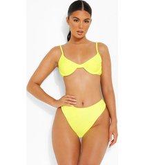 hoog uitgesneden bikini broekje met hoge taille, yellow