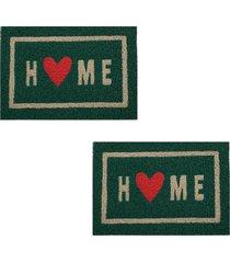 2 tapetes capacho decorativo 60x40cm home - verde - feminino - dafiti