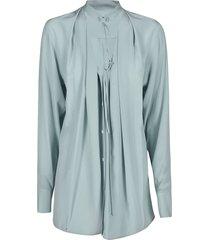 victoria beckham tie-neck plain blouse