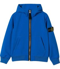 stone island junior blue jacket with frontal zip and hood