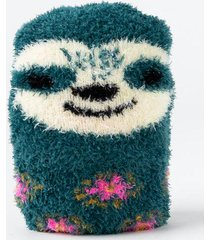 natural life® sloth cozy socks - dark teal