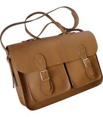 bolsa line store leather satchel pockets grande couro caramelo