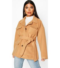 petite wool look belted utility jacket, camel