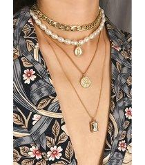 collar con colgante de múltiples capas de piedras preciosas retro coins