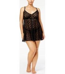 hanky panky plus size after midnight peekaboo lace babydoll and g-string thong 9c6814x