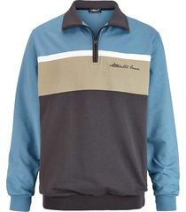 sweatshirt men plus blå::beige::mörkgrå