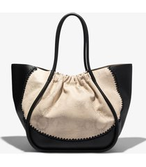 proenza schouler two tone snake embossed xl ruched tote black/desert/white one size