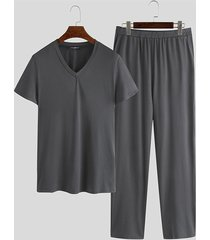 basics incerun conjunto de pijama de manga corta liso, transpirable, suave y cómodo para hombre