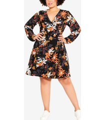 city chic women's trendy plus size fall floral dress