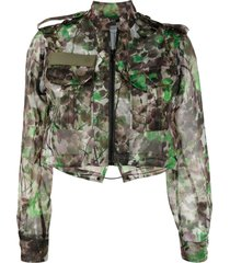 mr & mrs italy blossom camouflage-print cropped jacket - green