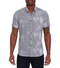 men's robert graham egbert classic fit houndstooth short sleeve stretch button-up shirt, size small - black
