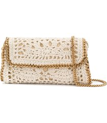 stella mccartney falabella crochet shoulder bag - white