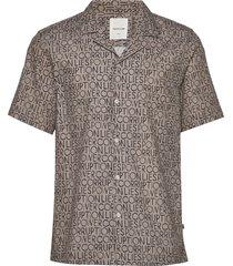 brandon shirt overhemd met korte mouwen beige wood wood