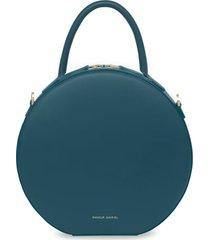 mansur gavriel calfskin leather circle crossbody bag - blue