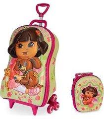 mochila escolar dora pets 3d com rodinhas e lancheira maxtoy