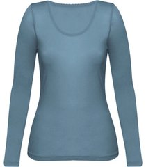 enna, biologisch zijden shirt met lange mouwen, rookblauw 36/38