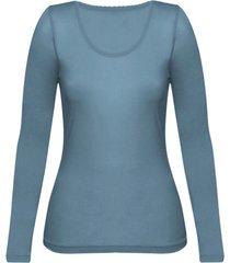 enna, biologisch zijden shirt met lange mouwen, rookblauw 40/42