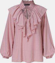 camicetta casual annodata a maniche lunghe patchwork con volant in tinta unita da donna