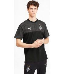 borussia mönchengladbach casuals t-shirt voor heren, zwart/aucun, maat l   puma