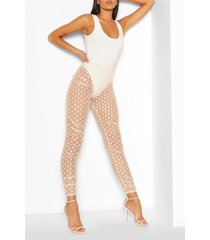 dobby mesh ruched legging, nude