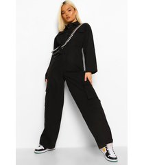 petite cargo utility overall jumpsuit, black