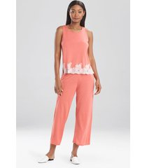 natori luxe shangri-la sleeveless pajamas, women's, pink, size m natori