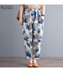 zanzea mujeres elásticos de la cintura floral harem damas pantalones largos ocasionales flojas -azul