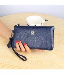 gran capacidad cartera para mujer/ billetera con cierre-gris