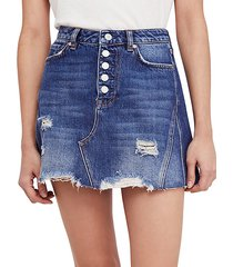 destroyed button denim skirt