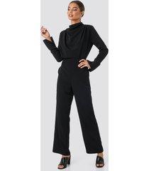 na-kd draped jumpsuit - black