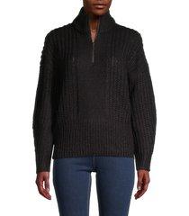 rd style women's highneck quarter-zip sweater - black - size s