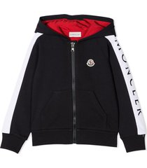 moncler navy blue and red cotton hoodie